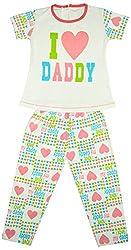 Myfaa Girls Printed Top & Pyjama Set (GNS2P-002-24, Multi-Coloured, 3-4 Years)