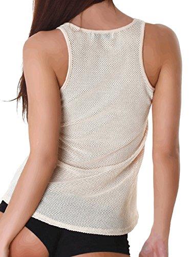 Jela Damen Top Shirts Netzshirt Tanktop elegant Sommer Party locker Schwarz Ausschnitt Beige