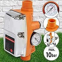 Contrôleur de Pression de Pompe à Eau - Automatique, Pression 10 Bar, 220-240 V, Courant 10 A, avec Manomètre, sans Câble - Régulateur, Pressostat pour Pompe à Eau