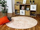 Designer Soft-Velours Teppich Vintage Terrakotta Rund in 7 Größen