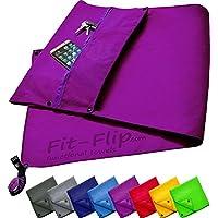 Fit-Flip 3-TLG Fitness-Handtuch Set mit Reißverschluss Fach + Magnetclip + extra Sporthandtuch   zum Patent angemeldetes Multifunktionshandtuch, Microfaser Handtuch
