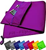 3-piece towel set with zip pocket + magnetic clip + extra sports towel, patent pending fit flip multifunctional towel, Purple