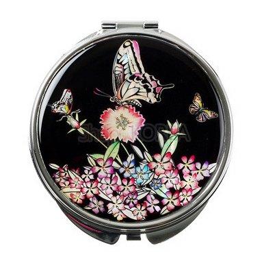 Miroir à main, fait à la main, mère de perle cadeau oriental, noir papillon.