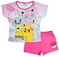 Girls Pokemon Short Pyjamas Pink Size 9-10 Years