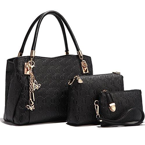 schwarz Abendtaschen set fanhappygo a Damen elegant Fashion Schulterbeutel Handtaschen Leder Retro Bräunung Umschlag Umhängetaschen nqwOfU