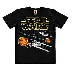 Logoshirt Star Wars - Rogue One - U-Wing - X-Wing - TIE Fighter - Starfighter Kinder Organic T-Shirt - schwarz - Bio Baumwolle - Organic Cotton - Lizenziertes Originaldesign, Größe 104, 3-4 Jahre