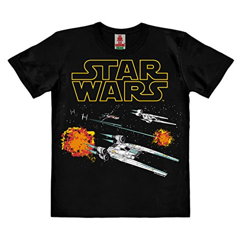 (Logoshirt Star Wars - Rogue One - U-Wing - X-Wing - Tie Fighter - Starfighter Kinder Organic T-Shirt - Schwarz - Bio Baumwolle - Organic Cotton - Lizenziertes Originaldesign, Größe 128, 7-8 Jahre)