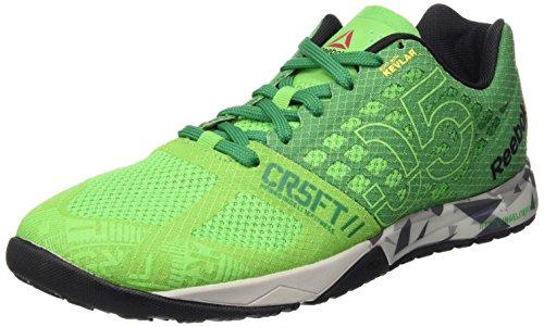 Reebok  Crossfit Nano 5.0, Sport intérieur homme Multicolore - Multicolore (Verde / Gris / Negro (Brightgreen/Basilgreen/Steel/Tin Grey/Bl))