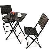 Grand Patio Set di tavolo e sedie pieghevoli per vimini esterno, resistente al sole, ideale per balcone o giardino, in acciaio inossidabile (1 tavolo + 2 sedie), Marrone immagine