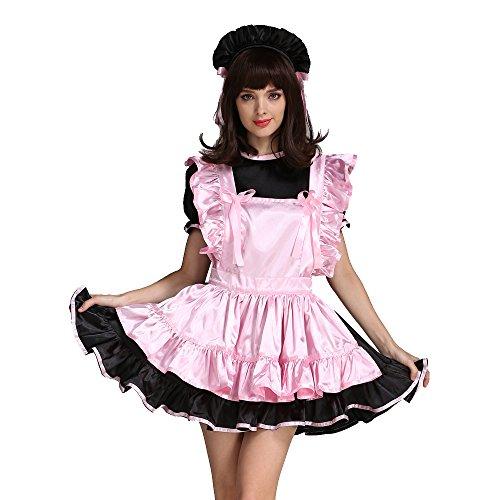 hen Dienstmädchen Rosa Schwarz Satin Kleid Uniform Kostüm (L) (Männer Dienstmädchen-kostüm)