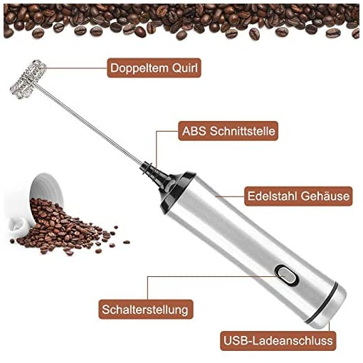 iLmyh USB Rechargeable Coffee Frother with Food Grade Stainless Steel Single&Double Spring Whisk Heads Electric Whisk (Silver)