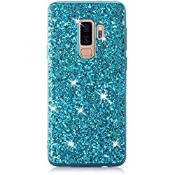 Felfy Coque Samsung Galaxy S9 Plus,Coque Galaxy S9 Plus Glitter Etui,Samsung S9 Plus Glitter Bling Shiny Étincelle Paillette TPU Silicone & PC Bumper Ultra Slim Anti-Choc Couverture,Bleu