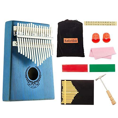 KOBWA Daumenklavier Kalimba Instrument 17 Schlüssel und Melodie Hammer,Tragbare Mahagoni Finger Klavier Kit,Perfektes Festival Geschenk für Kinder Erwachsene