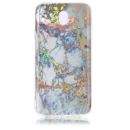 Alfort Funda Samsung Galaxy J7 2017, Carcasa Samsung Galaxy J7 2017 Suave Silicona Gel TPU Case Protectora para Samsung Galaxy J7 2017 Cover Líneas de Mármol Coloreadas (Oro)