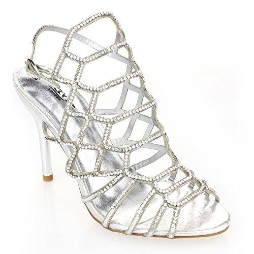 Aarz Femmes Mesdames Soirée de mariage Party Prom High Heel Sandal Diamante Bridal Chaussures Taille (Or, Argent, Noir, Rose) Argent