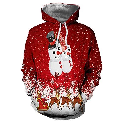 SEWORLD Weihnachten Vintage Christmas Männer Frauen Modus 3D Weihnachten Drucken Langarm Paare Hoodies Top Bluse ()