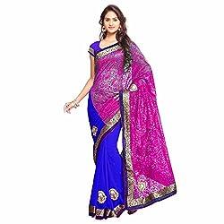 Aruna Sarees Chiffon Saree (V-786_Royal Blue)