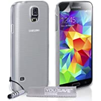 Yousave Accessories Hard Cover mit Mini Stylus Pen für Samsung Galaxy S5–Crystal Clear