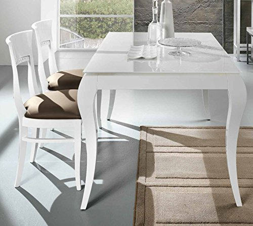 Friulsedie Table Extensible T86 Victor 160 x 90 Ultra Jambes hêtre laqué Brillant Blanc Plan Verre