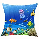 ruishandianqi Kissenbezüge The Underwater World Jellyfish Various of Fish Bubble Coral Cotton LinenCushion Case Home Chair Office Decorative Square 18 X 18 inches