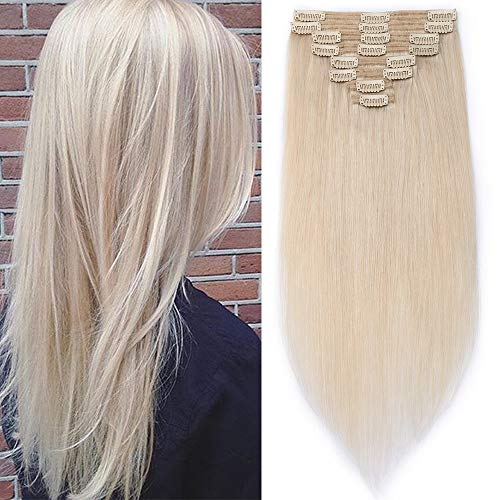 Clip in Extensions Echthaar Remy Haarverlängerung für komplette Haare 8 Tressen Doppelt Dicke 50cm-150g(#70 Platinblond) (Blonde Echthaar Extensions)