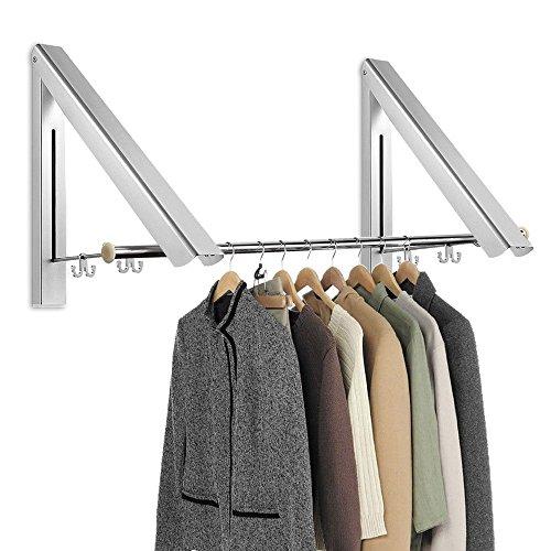Gdszhs retrattile hanger rack + 2 tubo in acciaio inox pieghevole, in lega di alluminio regolabile a parete pieghevole appendiabiti con 2 ganci per balcone, hotel, bagno, camera da letto