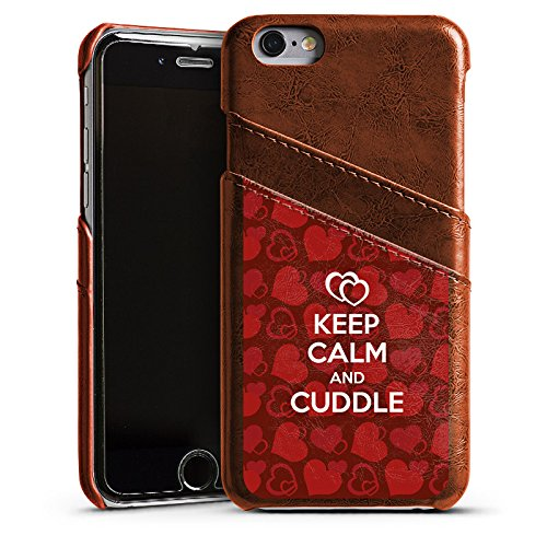 Apple iPhone 4 Housse Étui Silicone Coque Protection Amour câlin Phrases Reste calme Étui en cuir marron
