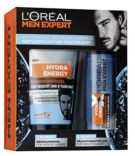 L'Oreal Men Expert Hydra Energy X Geschenkset mit Reinigungsgel (150 ml) und Feuchtigkeitsfluid (50 ml) für die 3-Tage-Bart Pflege