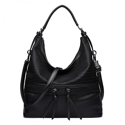 Kunstleder Schultertasche für Frauen Hobo Slouch Tote Handtasche (Handtaschen Slouch Für Frauen)