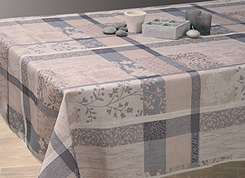 Nappe anti-taches Jacquard taupe - taille : Rectangle 150x350 cm