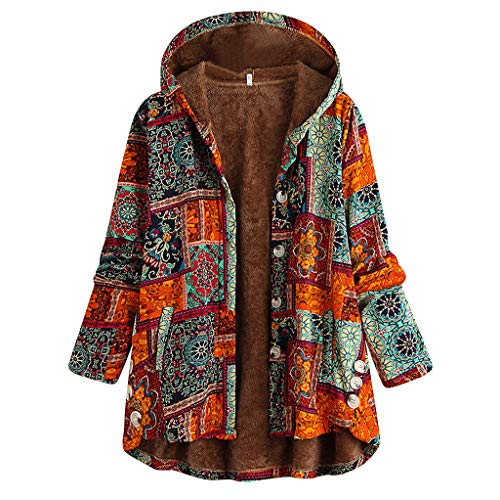 iHENGH Plus Size Women Winter Warm Vintage Floral Printed Thicker Button Coat Outwear(Orange-2, XL)