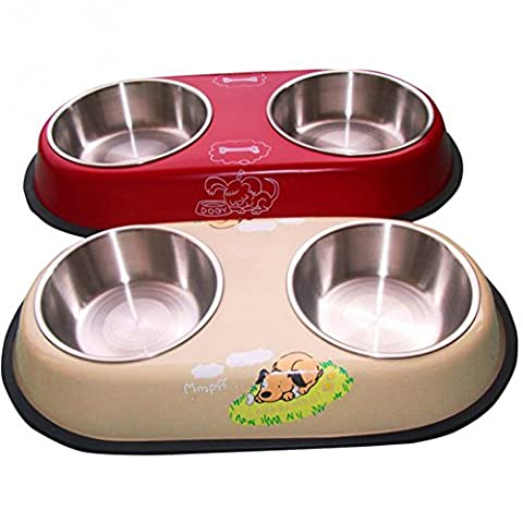 DAYNECETY Cat Dog Double Bowl Feeder Stainless Steel Pet Dual Food Water Feeding Bowl Puppy Drink Water Dish Heat-Resistant Pets Pot (S,