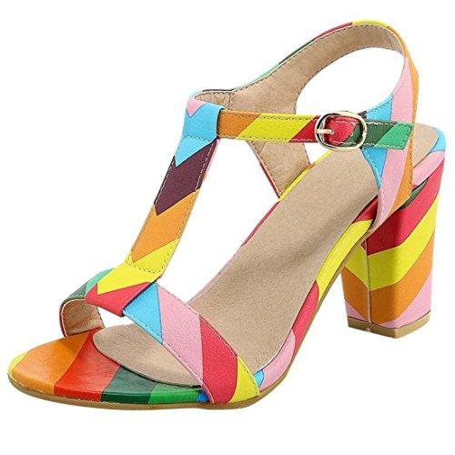 Artfaerie Damen T-Strap High Heels Sandalen mit Schnalle und Blockabsatz Slingback Riemchen Pumps Sommer Offen Schuhe -