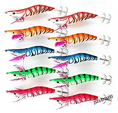 JSHANMEI ® Glow in Dark Luminous Tail Squid Jigs Fishing Lures Shrimp Prawn Bright Colors 3D Eyes Fishing Lures Baits Squid Hooks Tackle Hooks by JSHANMEI