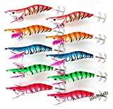 JSHANMEI ® 3.9inch/10cm Glow in Dark Luminous Tail Squid Jigs Fishing Lures Shrimp Prawn Tackle Hooks (2.5#-5pcs)