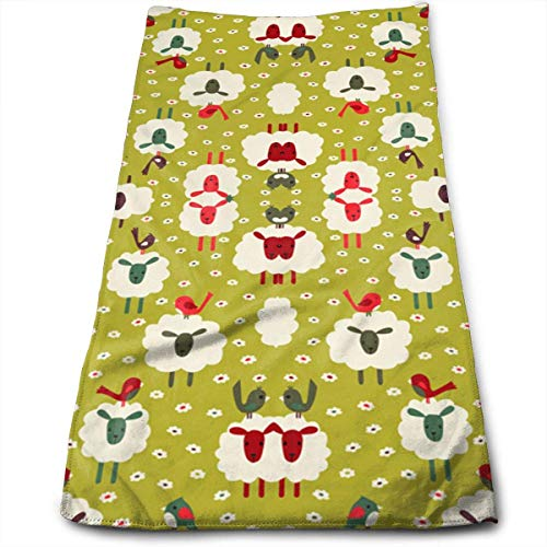 WBinHua Handtücher, Sporthandtuch, Sheep and Birds Wallpaper 2909 Super Soft, Machine Washable and Highly Absorbent,Towel(Face Towels,for Home, Gym or Sports), -