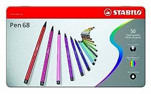 STABILO Pen 68 - Boîte métal de 50 feutres pointe moyenne - Coloris assortis
