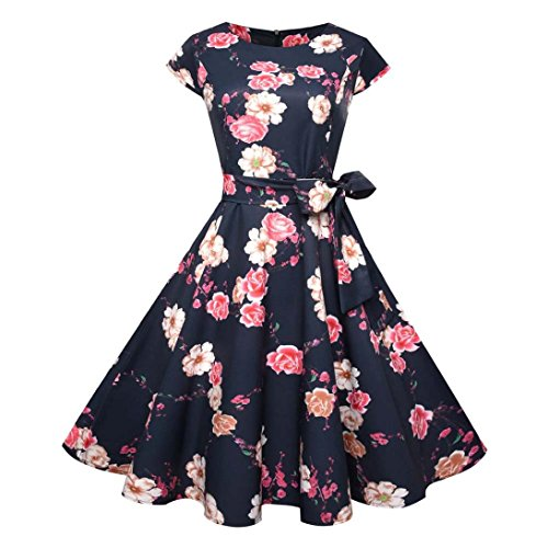 Heiß!Damen Vintage Kleid Yesmile 50s Retro Cocktail Kleider Mode Retro Rockabilly Kleid Partykleider Blumenmuster Ärmellos Kleider (Bin Ich Schuld Kostüm)