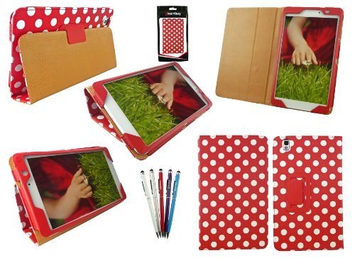 Emartbuy® Samsung Galaxy Tab Pro 8.4 Zoll Tablet (T320 T321 T325) Packet Mit 5 Kugelschreiber 2 in 1 Eingabestift + Polka Dots Rot/Weiß Wallet Etui Hülle Case Cover mit Ständer