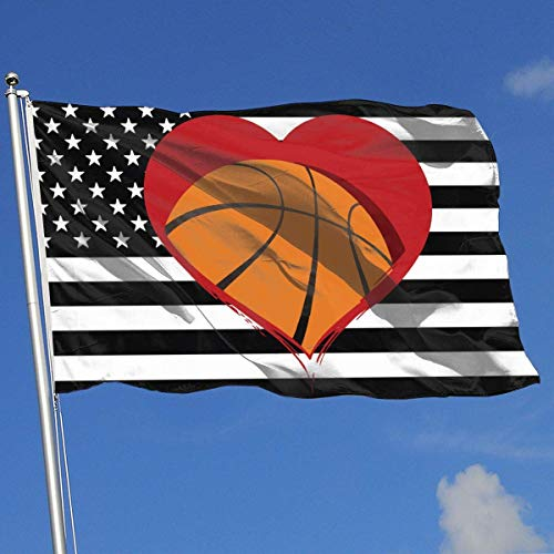 Oaqueen Flagge/Fahne Basketball Heart Breeze Flag 3 X 5-100% Polyester Single Layer Translucent Flags 90 X 150CM - Banner 3' X 5' Ft
