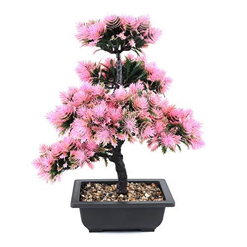 Bonsai Baum Künstlich,Künstliche Grün Bonsai Kunstpflanze mit Brown Topf, Tischdeko für Hochzeit/Büro/Zuhause Dekoration ,Pink
