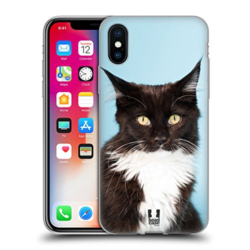 Head Case Designs Chaton Persan Blanc Adorable Races De Chat Populaires Étui Coque en Gel molle pour Apple iPhone 4 / 4S Maine Noir Et Blanc