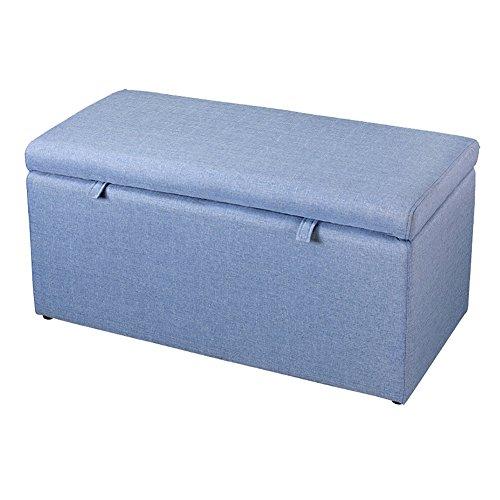 Lagerung Hocker LXF Große Faltbare Lagerung Ottoman Box Spielzeug Fußbänke Hellgrau Leinen 90 X 43 X 43 cm (Farbe : Blau) (Zweck Truhe Box)