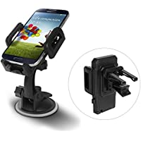 thanly 2 in 1 universale cruscotto supporto a ventosa per parabrezza regolabile auto Air Vent Telefono Supporto per iPhone 6 6S Plus 5S 5 C 4S, Samsung Galaxy S7 Edge S6 S5 Nota 5 4 LG, HTC, ecc.