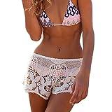 F.lasches Damen Lace Strandshorts Spitze Einfarbig Bikini Cover Up Strandpoche Bikinishorts Hot Pants Strand Meer