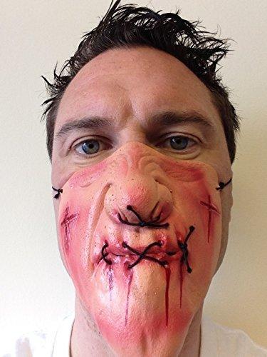 Stich Gesicht Kostüm - Rubber Johnnies TM Unheimlich Halbes Gesicht Stich Mund Latexmaske Kostüm Herrenabend