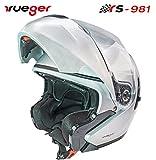 rueger Klapphelm RS-981 Silber mit zusätzlichem klappbarem Sonnenvisier. Mit neueste ECE 22/05 Größe XS