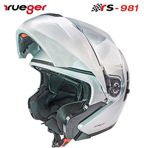 rueger Klapphelm RS-981 Silber mit zusätzlichem klappbarem Sonnenvisier. Mit neueste ECE 22/05 Größe XS (53-54)