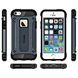 #2: iPhone 5S Case, Cubix Robot Series Case Cover UV Coated Slim Hybrid Defender Bumper shock proof Case Armor Cover With Stand for iPhone 5S (Navy Blue)