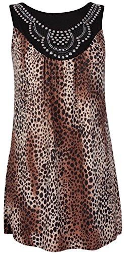Damen Tier-/ Leopard-aufdruck Damen Rund U-ausschnitt Stecker Perlen Ärmelloses Top Übergröße Braun